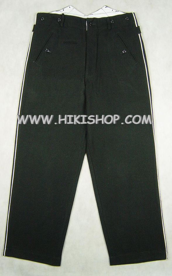 WW2 Elite Black Wool Straight Leg Piped Dress Pants Trousers