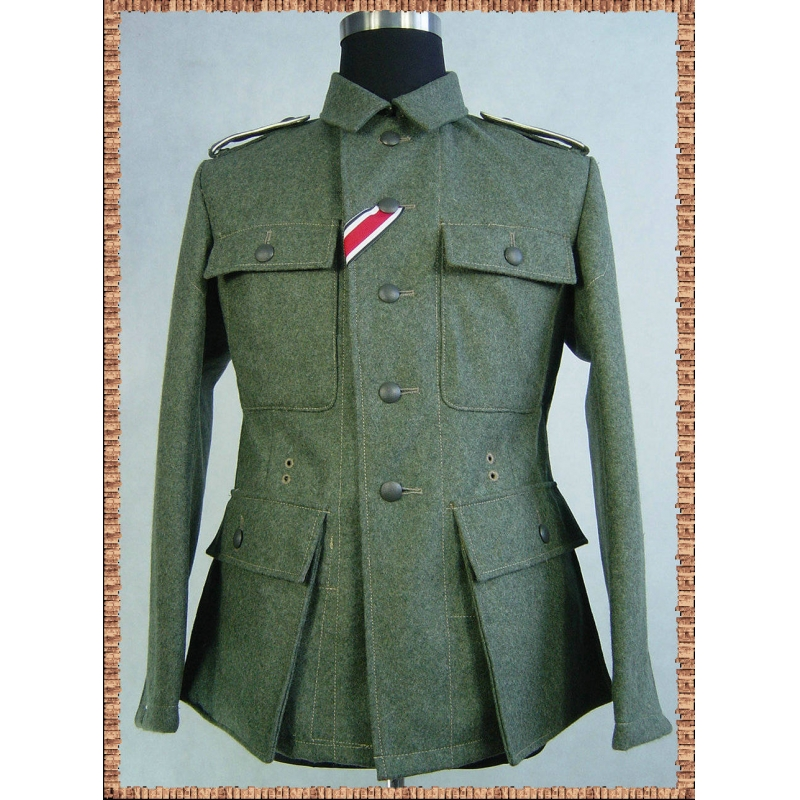 WW2 German FieldGrey Wool M43 WH Soldier Tunic Feldbluse TOP
