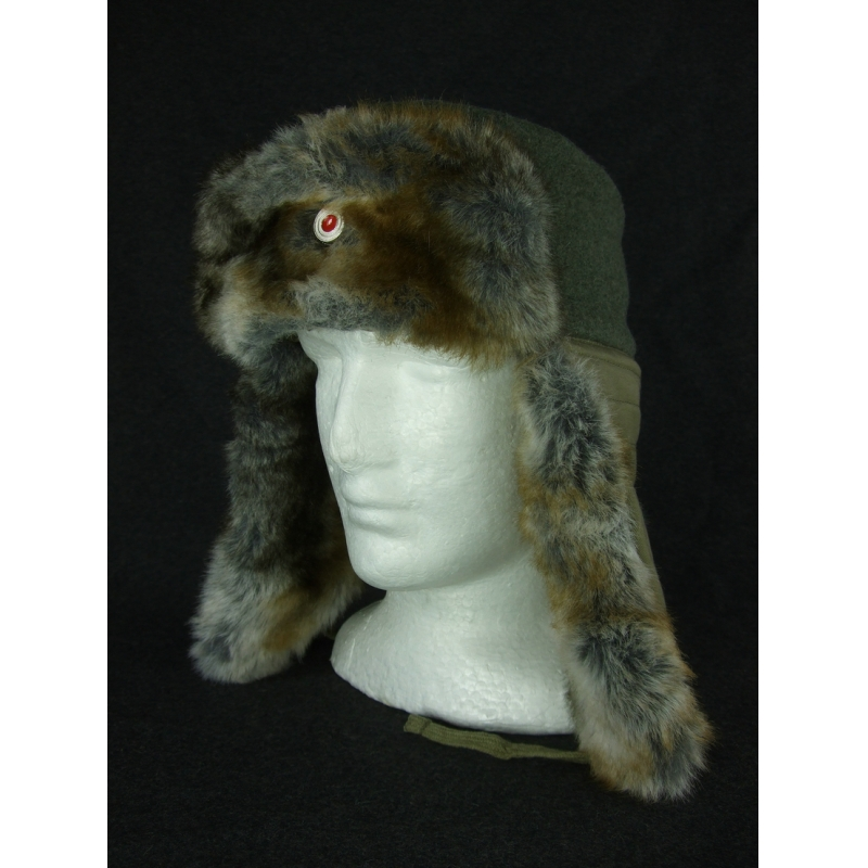 WW2 German Officer Fur Winter Cap + Metal Cockade